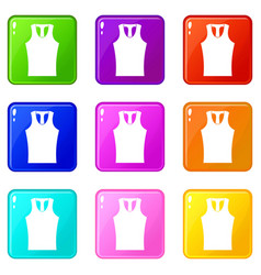 Sleeveless shirt icons 9 set vector