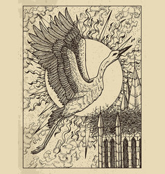 stork mystic concept for lenormand oracle tarot vector image