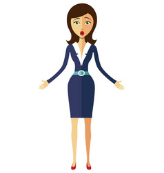 Surprised flat business woman emotional character vector
