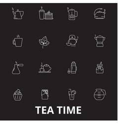 teatime editable line icons set on black vector image