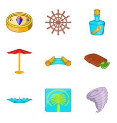 tropical vacation icons set cartoon style vector image