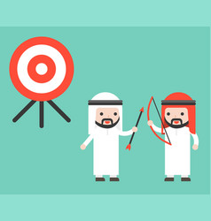 two co workers arab businessman cooperation to vector image
