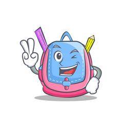 two finger school bag character cartoon vector image