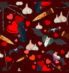vampire seamless pattern for the valentine day vector image
