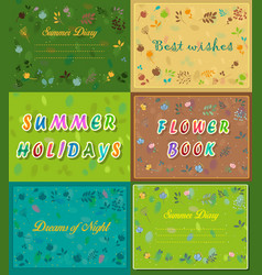 Vintage cards with floral frames and texts vector