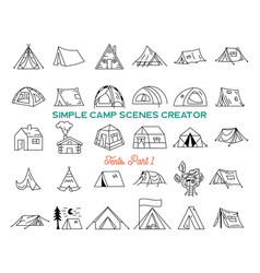 vintage hand drawn tents icons bundle simple line vector image