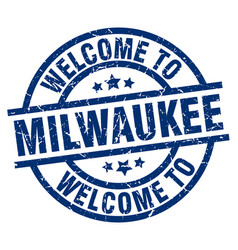 Welcome to milwaukee blue stamp vector