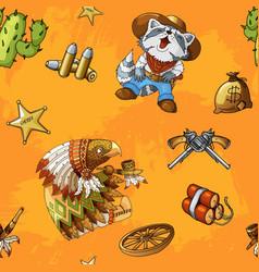 western rodeo seamless orange background pattern vector image