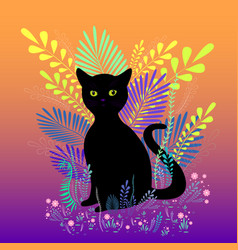 wild black cat with green eyes sit in foliage vector image