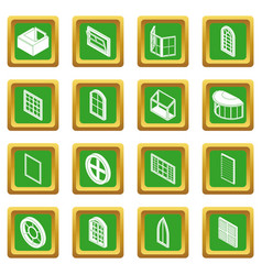 Window forms icons set green square vector