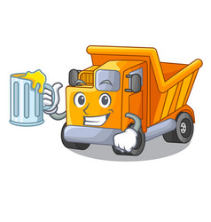 With juice truck on highway road with mascot vector