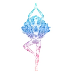 Yoga woman Pose Vrikshasana Girl Meditation vector
