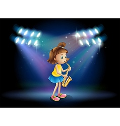 A young lady at the stage playing with her vector image vector image