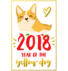 Christmas card with corgi vector