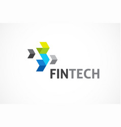 logo for fintech and digital finance industry vector image