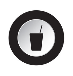 Round black white button - glass with straw icon vector