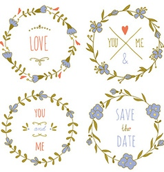 Set of wreaths for the Valentines day or a wedding vector image