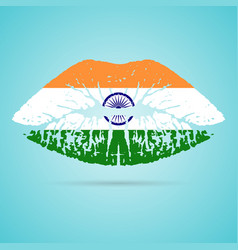 india flag lipstick on the lips isolated on a vector image