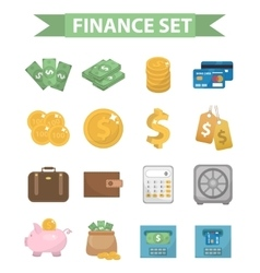 Money and Finance icons modern flat style vector image vector image