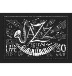 Poster of Jazz festival on the chalkboard vector image