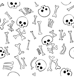 seamless pattern with skulls and bones vector image vector image