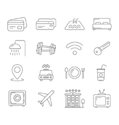 Travel and hotel line icons vector image