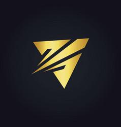 triangle arrow gold logo vector image
