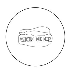 world cinema sign icon in outline style isolated vector image