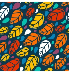 Bright seamless pattern with colorful leaves vector image