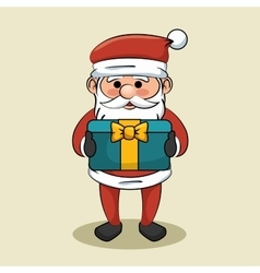 cute santa claus with blue gift box bow icon vector image