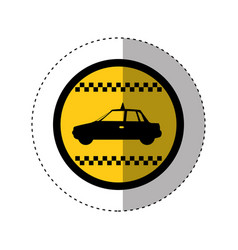 sticker of color circular emblem with taxi car vector image vector image