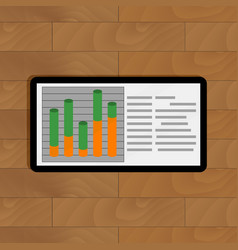 tablet with graph vector image vector image