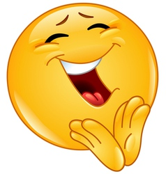 clapping cheerful emoticon vector image vector image