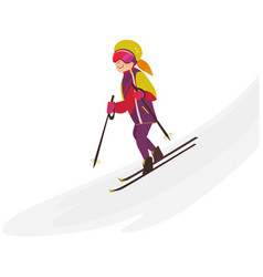 happy teenage girl skiing downhill winter sport vector image vector image