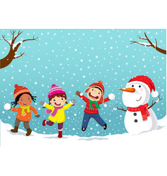 winter fun happy children playing in the snow vector image