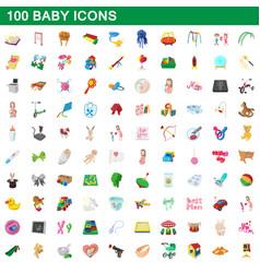 100 baicons set cartoon style vector