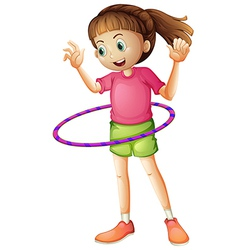 A young girl playing hulahoop vector image