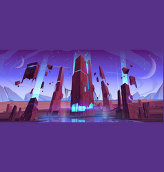 Alien planet surface futuristic cosmic landscape vector