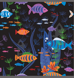 aquarium fishes life seamless pattern vector image