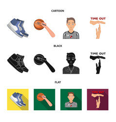 basketball and attributes cartoonblackflat icons vector image