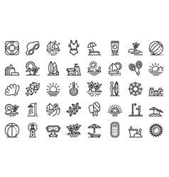beach landscape icons set outline style vector image