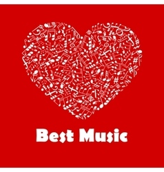 Best Music poster with heart shape musical notes vector image