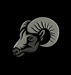 Bighorn sheep metallic icon vector