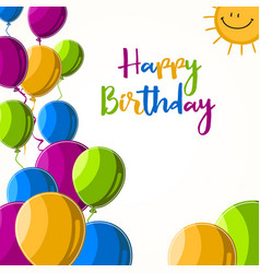 birthday card with colorful balloons and sun vector image
