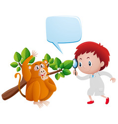 boy looking at monkey and leaves vector image