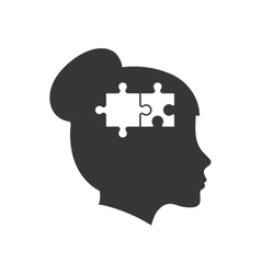 brain puzzle head silhouette idea icon vector image