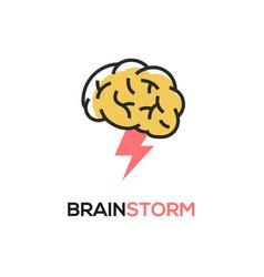 brainstorm icon idea brain storm lighting vector image
