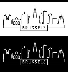 Brussels skyline linear style vector
