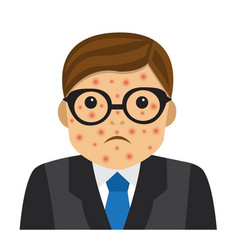 Businessman with pimples on his face vector