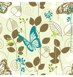 Butterflies and leaves retro seamless pattern vector